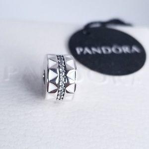 Pandora Sparkling Jagged Lines Clip Silver New 925